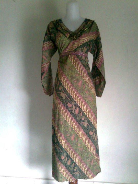 Grosir Batik Baju Batik Wanita Gamis Parang Hijau