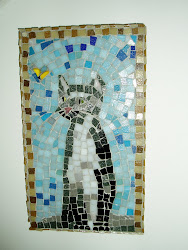 Mosaic cat at Martin Cheek's