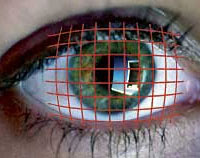 Accessible Gaming Shop - Head controllers. Image of an eye with a grid super imposed over it.