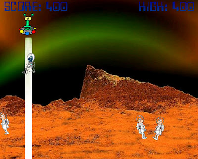 Image of a moonscape with an alien UFO beaming up a space man.