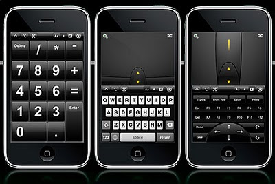 Image of three iPhones all displaying controller software, making the touch-screen act as a mouse, keypad and more over a PC or Mac.