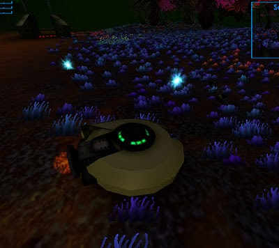 Image of your disc shaped futuristic craft within the game Zogan's Log. Sitting on a patch of psychedelic scrub land. Bright blue laser bursts have been scattered out in an arc from your craft.