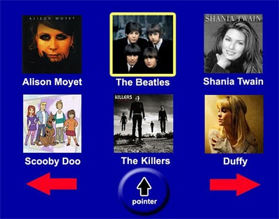 Image of a 3 by 2 grid of square photos. Each photo is of a different music act or theme tune. These images include Alison Moyet, The Killers and Scooby Doo. Beneath these are two navigation arrows (left and right) and a pointer clickable area.