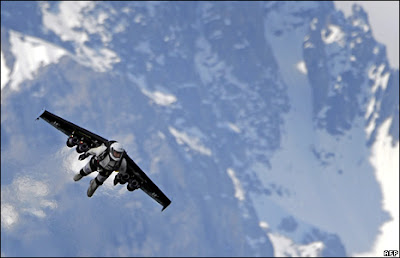 Swiss pilot Yves Rossy, who calls himself 'Fusion Man', becomes the first person to fly with jet-fuel powered wings strapped to his back. He completed several loops at 300km/h (186mph) above the Alps.