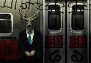 Cropped image from the game 6 Differeces. A picture of a half-man/half-stag wearing a suit, sitting neatly in a dirty tube train.