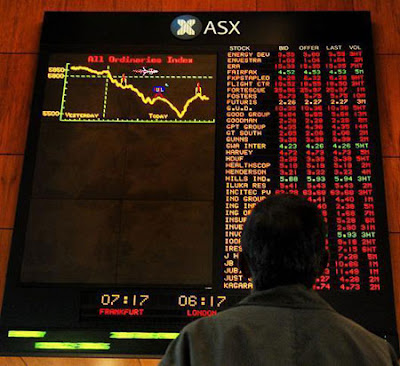 Image of Stock Market display screen displaying losses - mocked up to look like a game of Scramble.