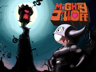 Image of the Mighty Jill in Gimp gear - staring up at an ominous looking tall tower on a moonlit night.