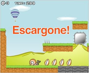 Image of a platform game where the main character is a snail.