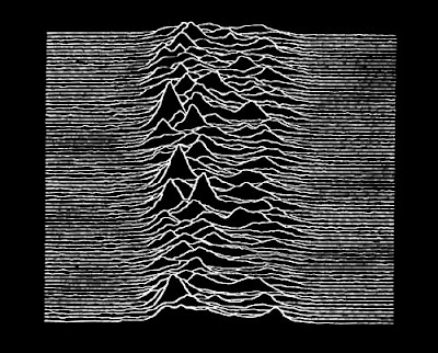 Image of a radio wave from Joy Division album Hidden Pleasures.