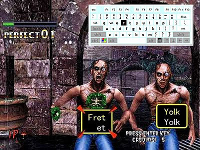 Mock up image of SEGA's Typing of the Dead being played with an on screen keyboard.