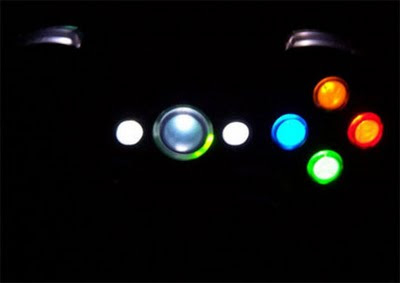 Xbox 360 Modification - Image of illuminated buttons on an adapted Xbox 360 controller.