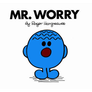 Image of Mr. Worry, a blue cartoon character with a furrowed brow.