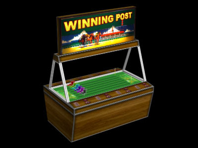 Image of a virtual horse racing penny betting game from an amuesment arcade.