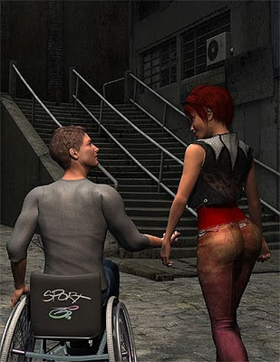 Image of a man in a wheelchair, gesticulating to a woman as to an inaccessible stair-case in a mock-up video game.