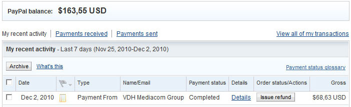 Paypal 3rd payment