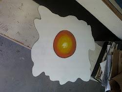 Ovo frito pintura sobre mdf