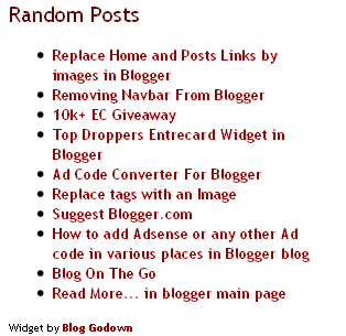 Random Posts Blogger Widget Random Posts Blogger Widget