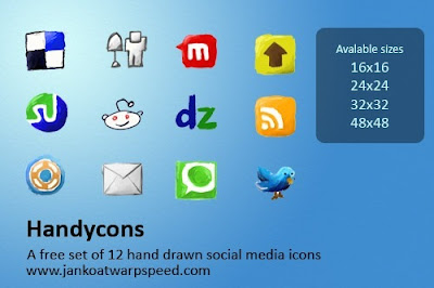 Handcons - hand made social bookmarking icons