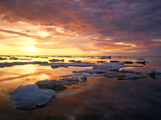 Sun Ocean Snow Nature HD Wallpaper