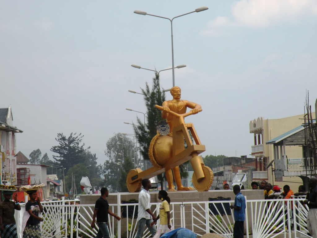 Sculpture of a golden chikudu, Goma, the Congo