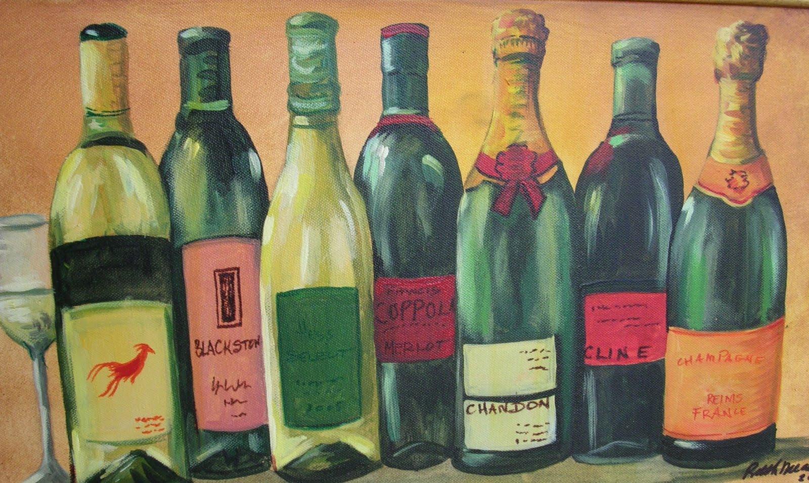 Wine bottle art painting the image kid for Wine bottle artwork
