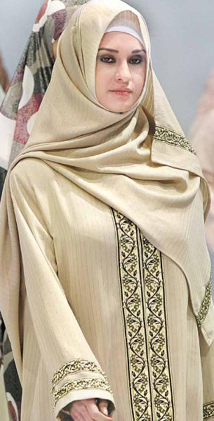 Turkish Model in Islamic Hijab during Islamic Fashion Fair
