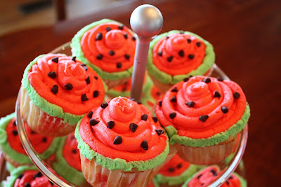 Petite watermelons (watermelon jello in hollowed out limes)...