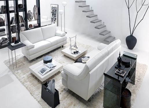 living room design with black and white theme home and