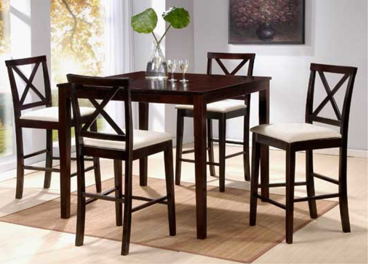 28+ [ High Dining Room Table Sets ] | Dark Brown 5 Pc Dining Set ...
