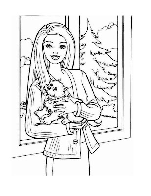 Barbie and Puppy Coloring Pages