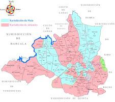 Mapa das xurisdiccións antigas da Maía