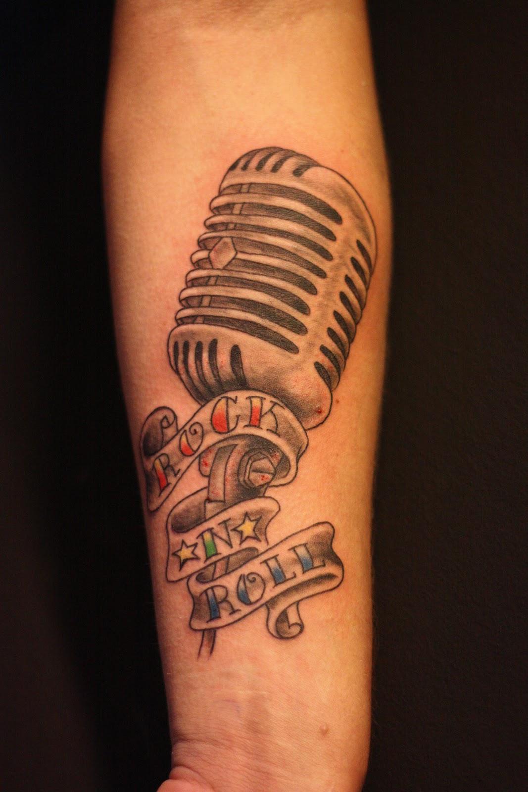 ink tattoo old school mic shure microphone 50 tals mick. Black Bedroom Furniture Sets. Home Design Ideas