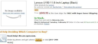 Lenovo IdeaPad U150 Pre-Order