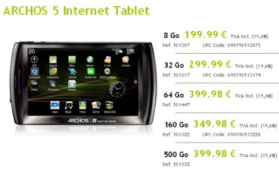 Archos 5 Internet Tablet Spotted in France
