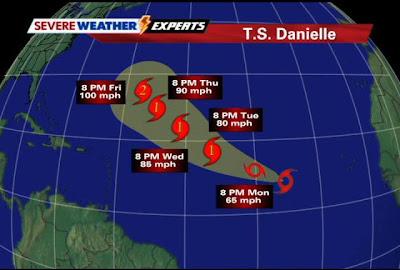 Tropical Storm Danielle Map Direction Photo
