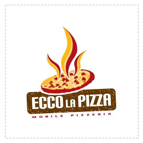 Ecco la Pizza is a mobile pizzeria their logo design has bright yello ...