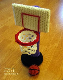 Hooks, Needles and Brushes: BasketBall Set crochet pattern.