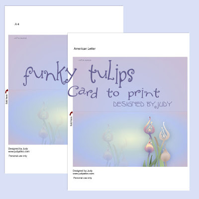 Printable Funky Tulips Card