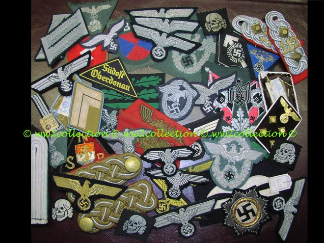 Militaria, Original Sleeve eagles, Breast eagles, Cap emblems, Collartabs, Epaulettes