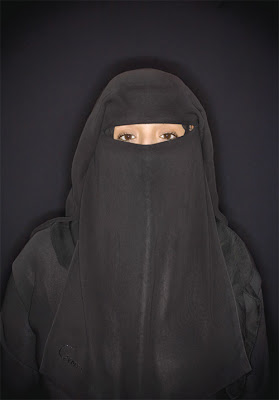 Amazing Lashes - Girl in hijab cover & felt cloak - AZHAAR - 21 years old - never married, never will