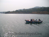 Panshet Dam group boating near Pune in India