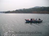 Panshet Dam group boating near Pune in India