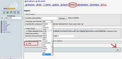 import database MySQL