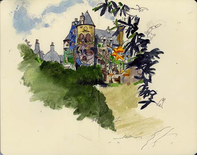 graffiti castle, art watercolors painting
