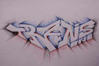 3D Alphabet Graffiti Free hand of Trans One Lettering