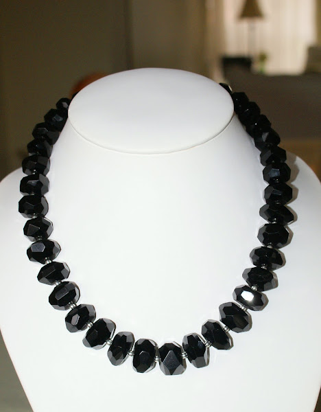 Graduated Faceted Black Onyx Necklace-So lovely and a classic piece