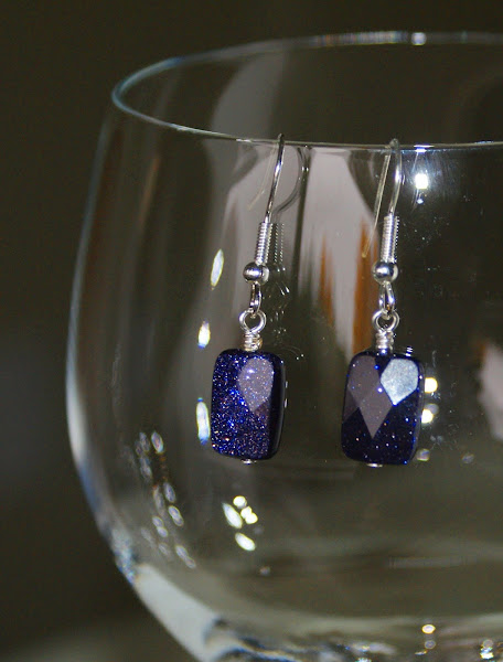 Purple Goldstone Earrings