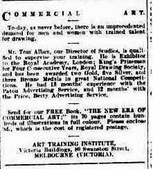 Advertisement for Art Training Institute
