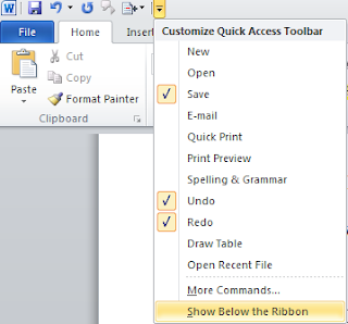 Customize quick access toolbar