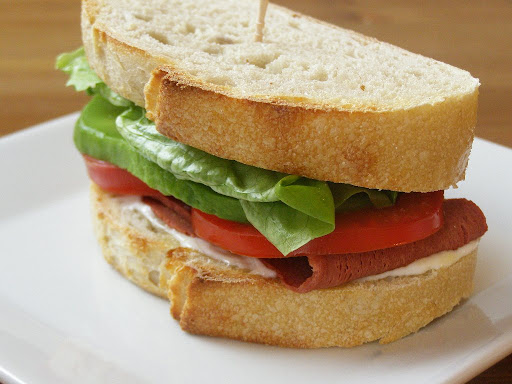 Vegan Bacon, Avocado, Lettuce and Tomato Sandwich